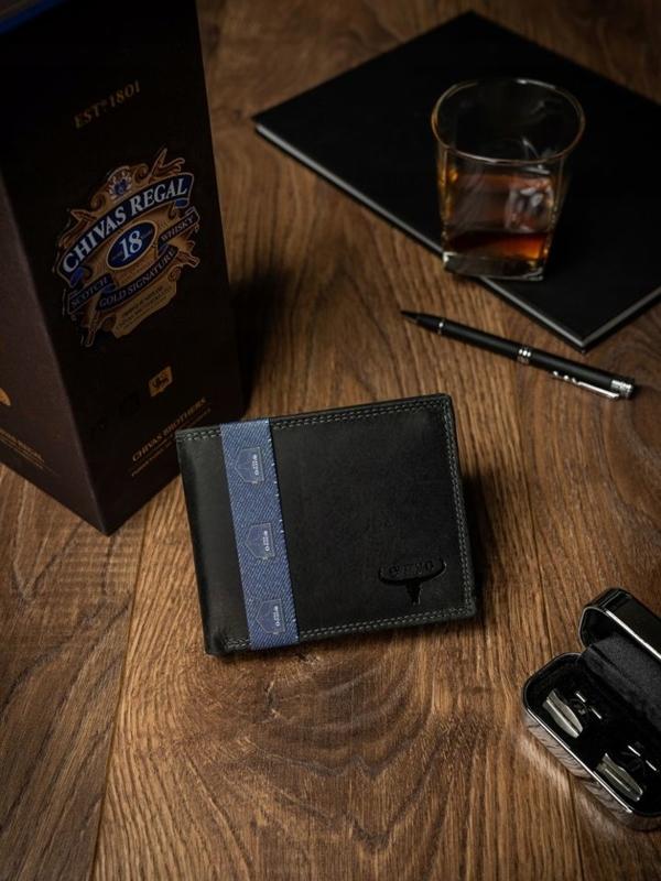 Чоловічий шкіряний гаманець чорний 2223