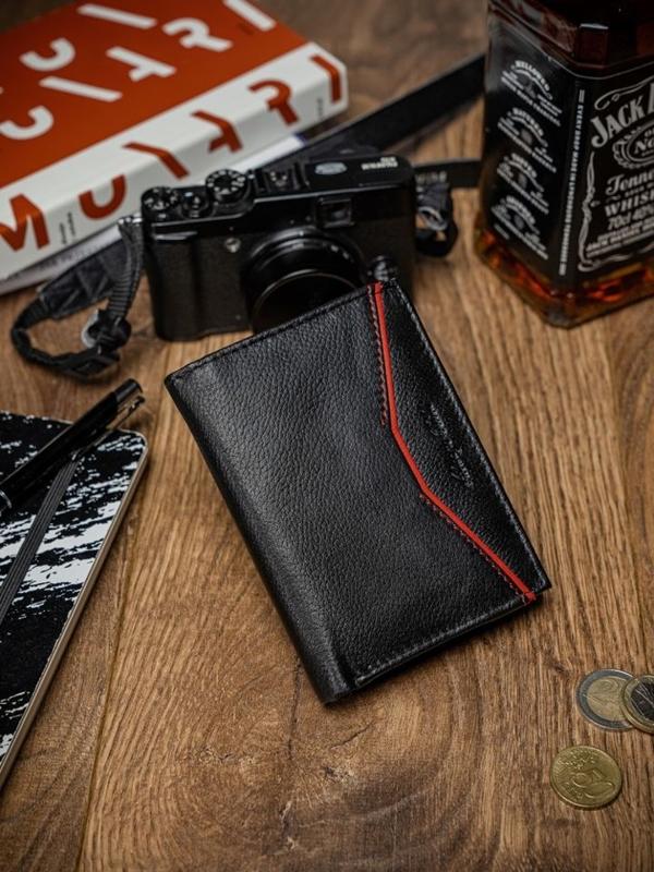 Чоловічий шкіряний гаманець чорно-червоний 2059