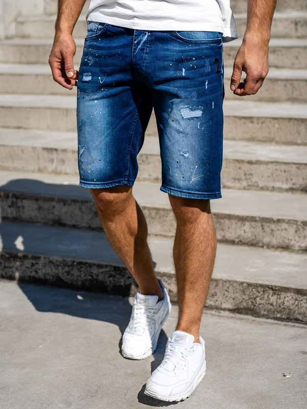 Чоловічі джинсові шорти темно-сині Bolf 3001
