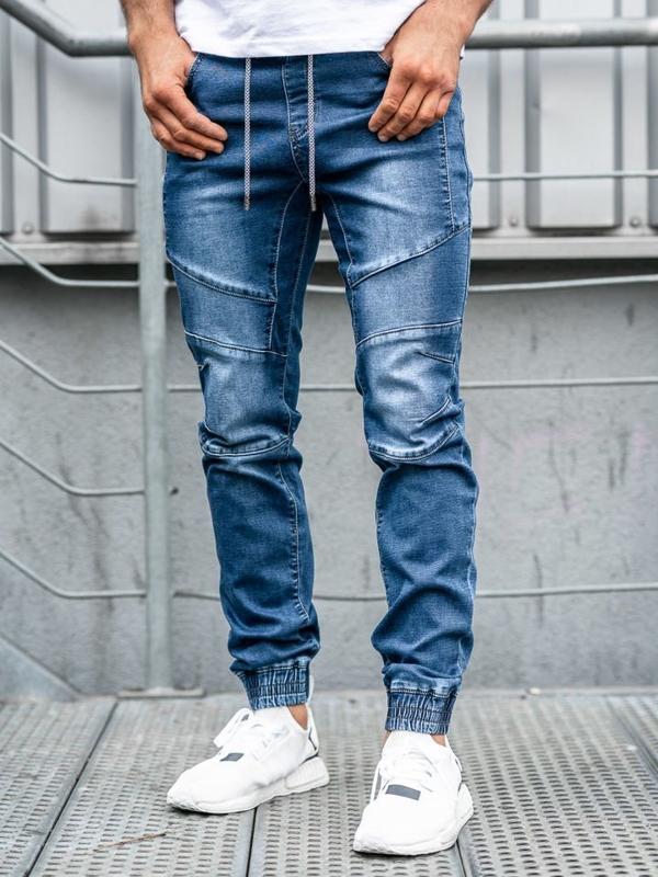 Чоловічі джинсові штани джоггери темно-сині Bolf KA530