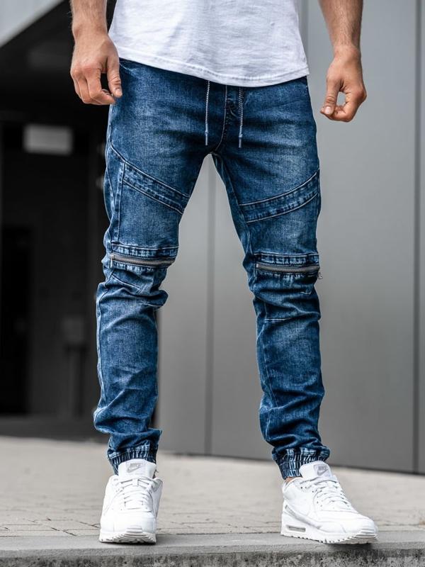 Чоловічі джинсові штани джоггери темно-сині Bolf KA575