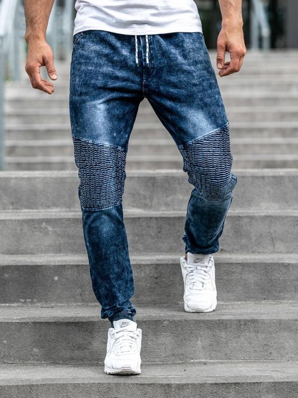 Чоловічі джинсові штани джоггери темно-сині Bolf KK1023