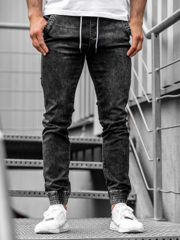 Чоловічі джинсові штани джоггери чорні Bolf KA1077