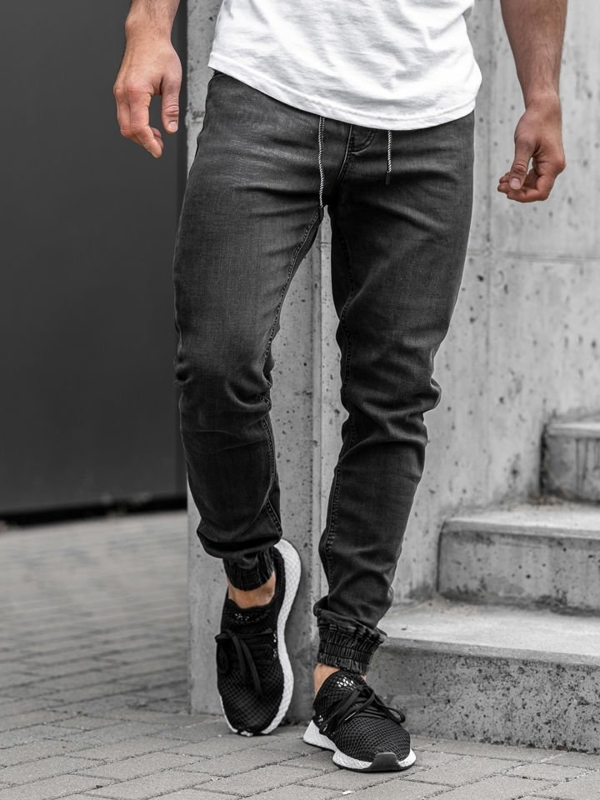 Чоловічі джинсові штани джоггери чорні Bolf KA1095