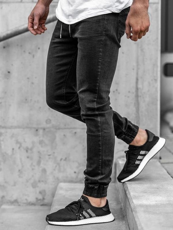 Чоловічі джинсові штани джоггери чорні Bolf KA1105