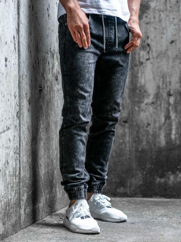 Чоловічі джинсові штани джоггери чорні Bolf KA1283