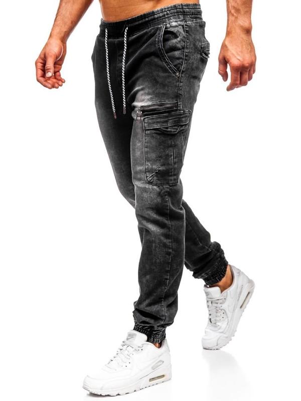 Чоловічі джинсові штани джоггери чорні Bolf KA687