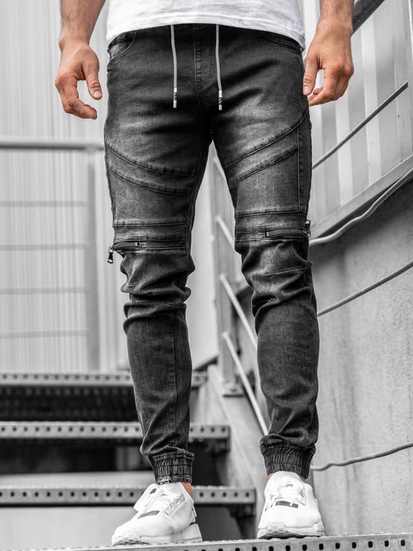 Чоловічі джинсові штани джоггери чорні Bolf KA763