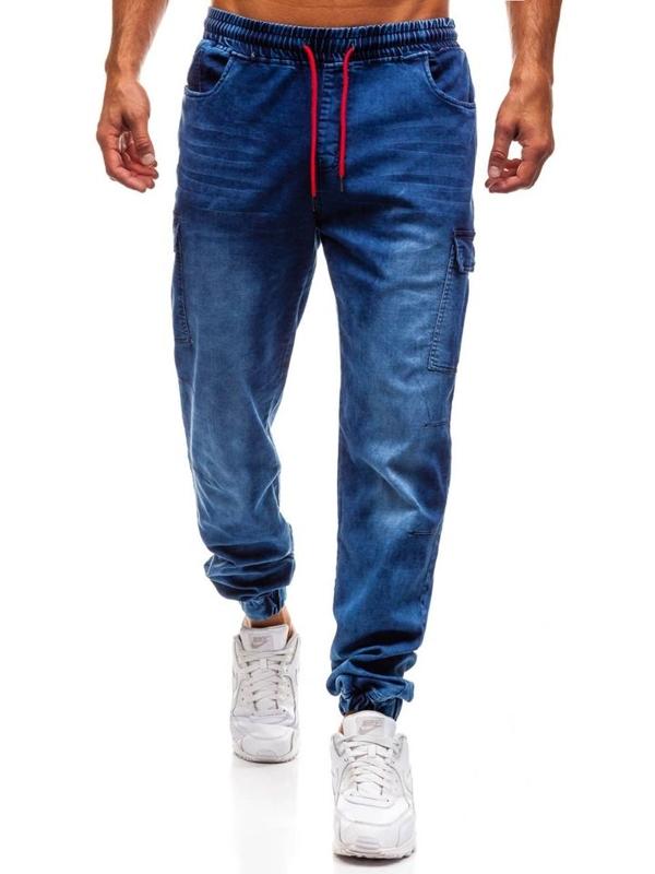 Чоловічі джинсові штани джогери темно-сині Bolf Y231