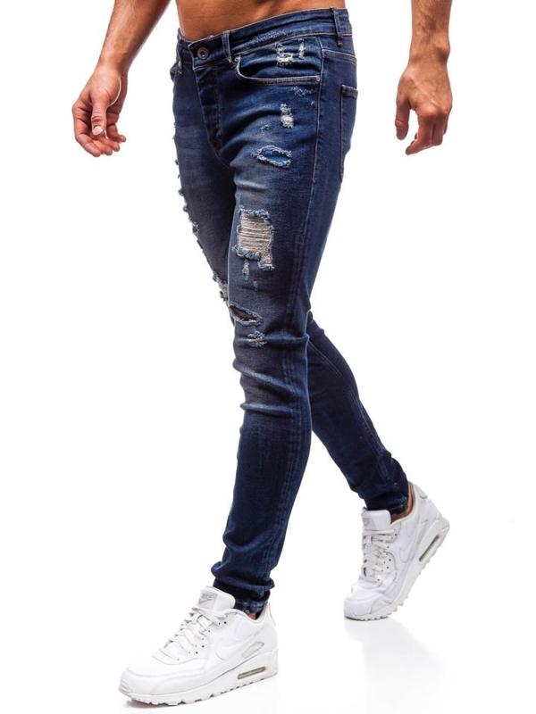 Чоловічі джинсові штани темно-сині Bolf 1033