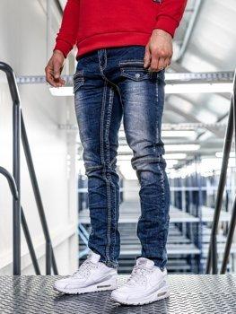 Чоловічі джинсові штани straight leg темно-сині Bolf KA9915