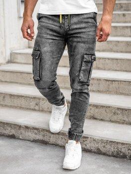 Чорні чоловічі джинсові штани джоггери-карго Bolf HY687