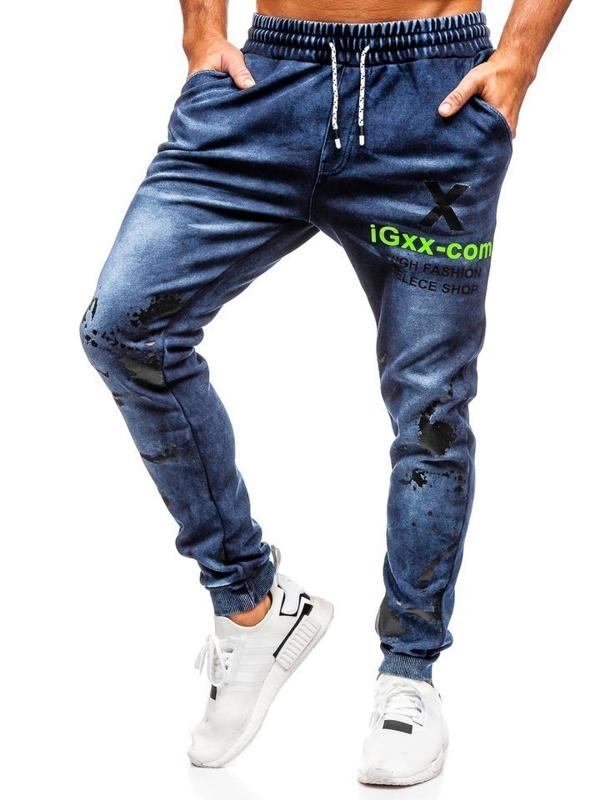 Штани чоловічі джинсові джоггери темно-сині Bolf KK1061