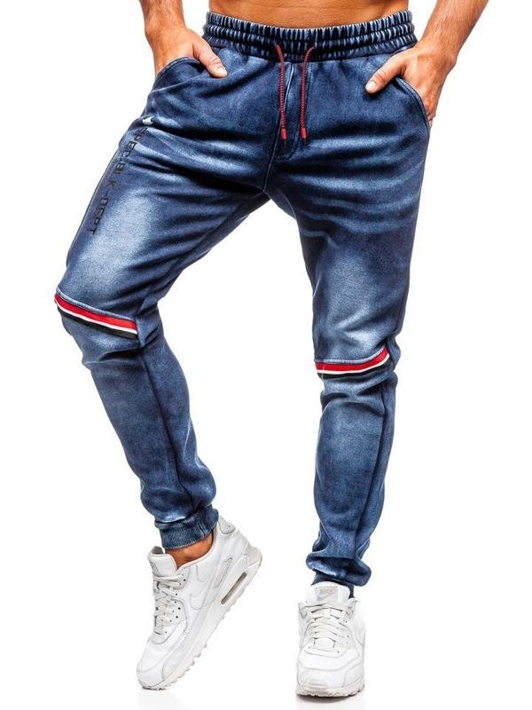 Штани чоловічі джинсові джоггери темно-сині Bolf Kk1058