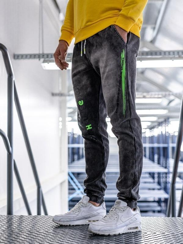 Штани чоловічі джинсові джоггери чорні Bolf kk1067