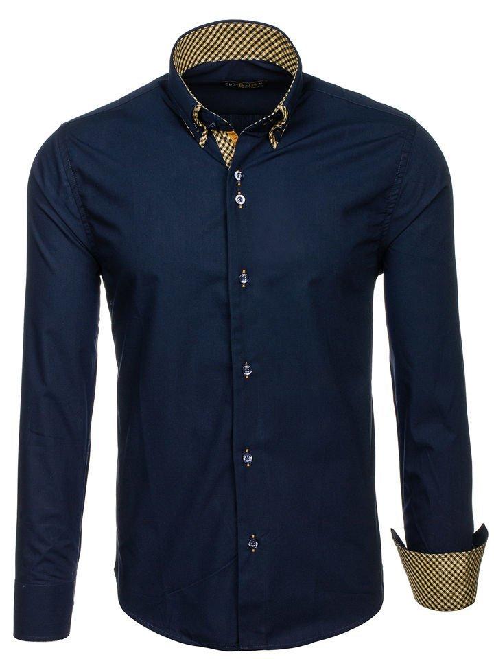 Чоловіча елегантна сорочка з довгим рукавом темно-синя Bolf 4708 ... 2cd227000970f