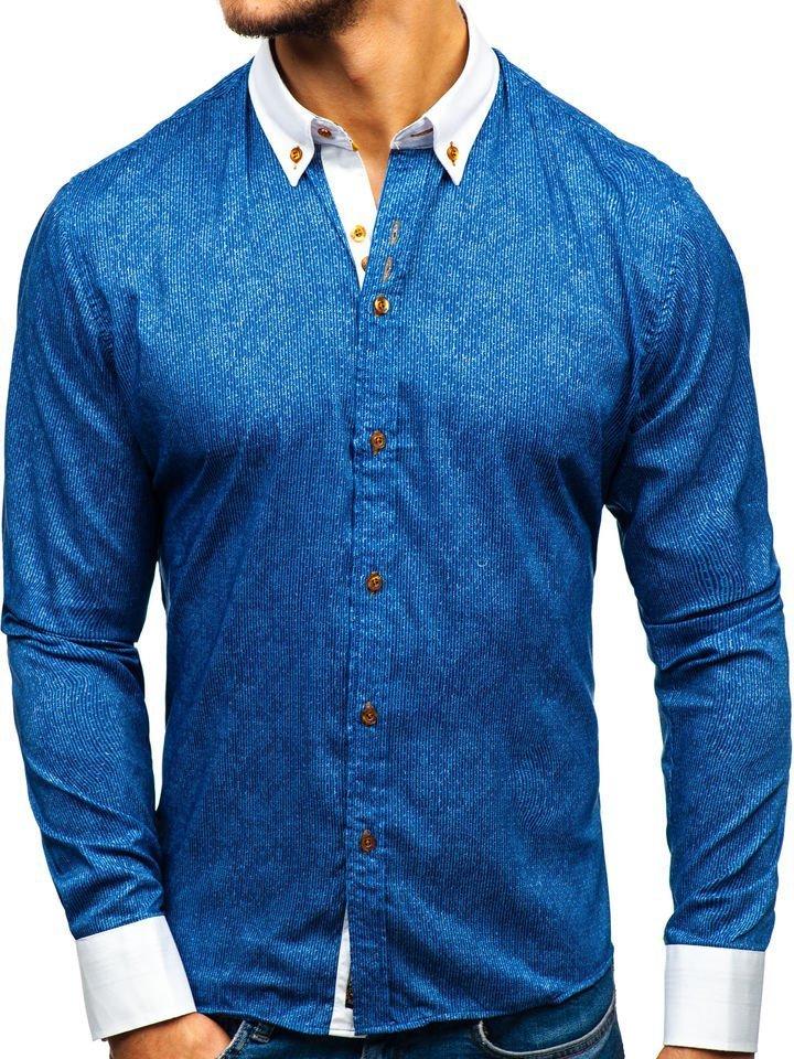 Чоловіча сорочка з візерунком та довгим рукавом темно-синя Bolf 8842 ... c44cdfd736ae4