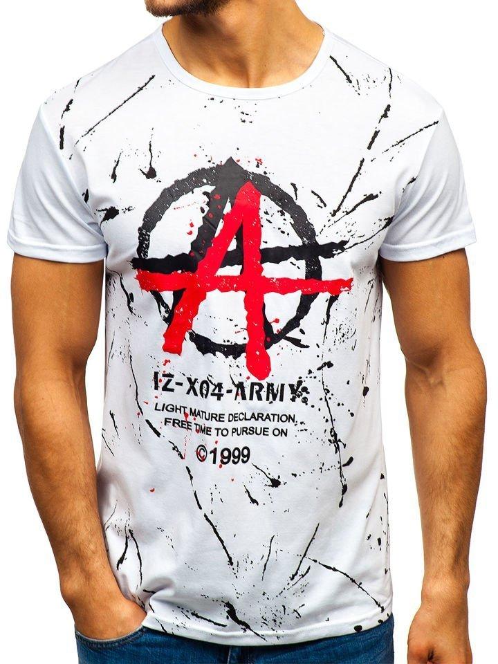 Чоловіча футболка з принтом біла Bolf 100661 БІЛИЙ b4e0c6c62543f