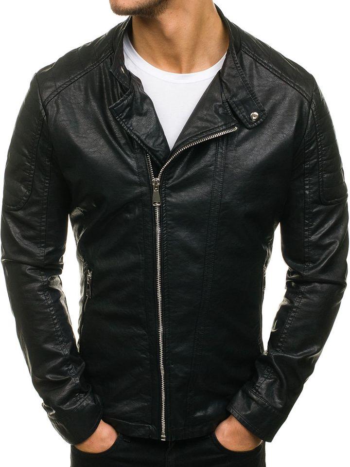 ... Чорна чоловіча шкіряна куртка Bolf D003 ... 538414fa86df0