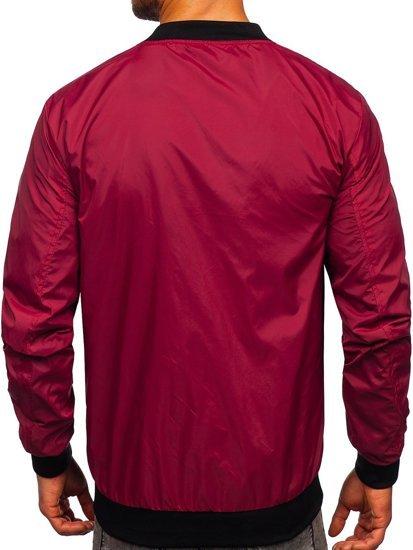 Бордова чоловіча демісезонна куртка бомбер Bolf M10292