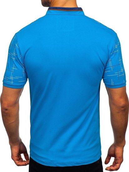 Бірюзова чоловіча футболка поло з принтом Bolf 192232