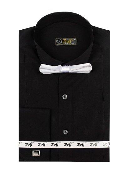 Сорочка чоловіча BOLF 4702 метелик+запонки чорна