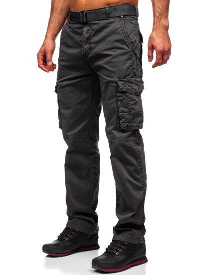 Темно-графітні чоловічі штани карго з ременем Bolf CT8906