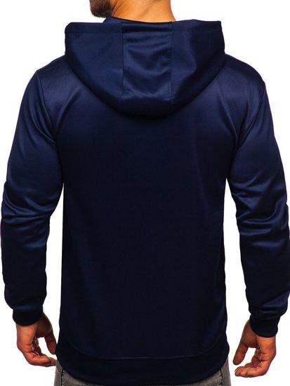 Темно-синя чоловіча толстовка з капюшоном і принтом Bolf B10113