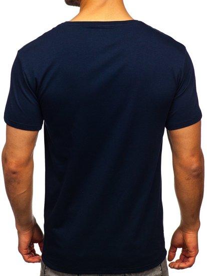 Темно-синя чоловіча футболка з принтом Bolf Y70012