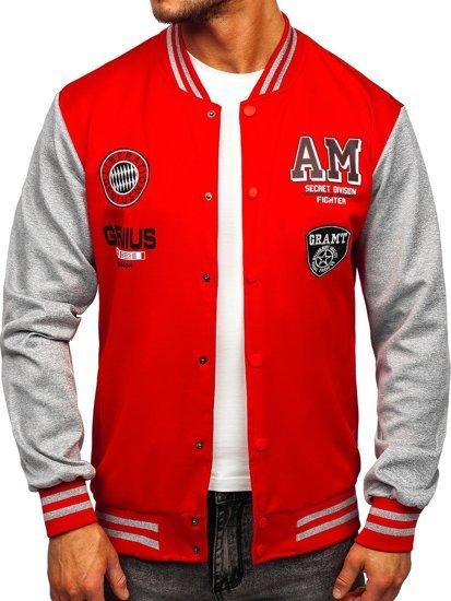 Червона толстовка-куртка чоловіча тонка бейсбольна з принтом Bolf B10155