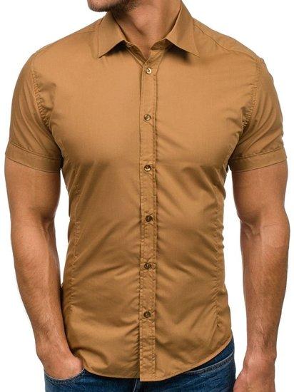 Чоловіча елегантна сорочка з коротким рукавом кемел Bolf 7501