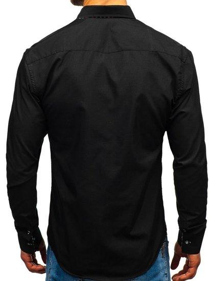 Чоловіча сорочка з довгим рукавом, чорна Bolf 3707