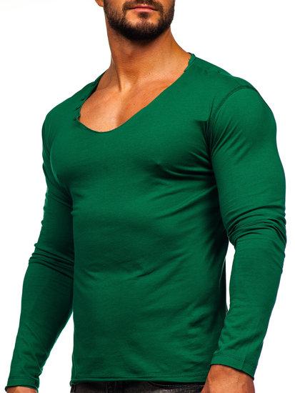 Чоловічий longsleeve без принта зелений Bolf 547