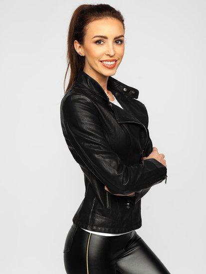 Чорна жіноча шкіряна куртка Bolf 2055