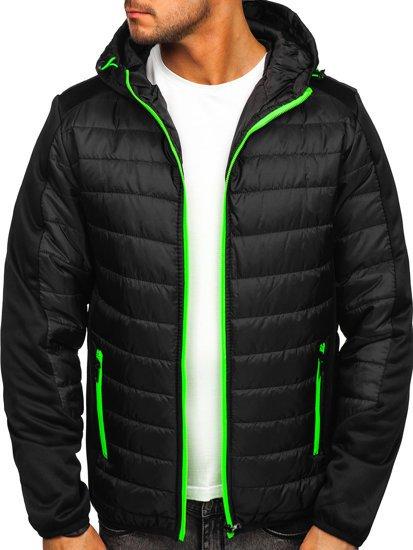 Чорна спортивна чоловіча демісезонна куртка Bolf M10002