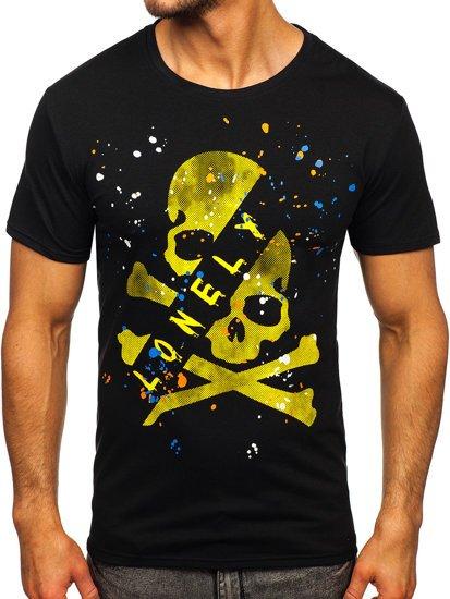 Чорна чоловіча футболка з принтом Bolf Y70008