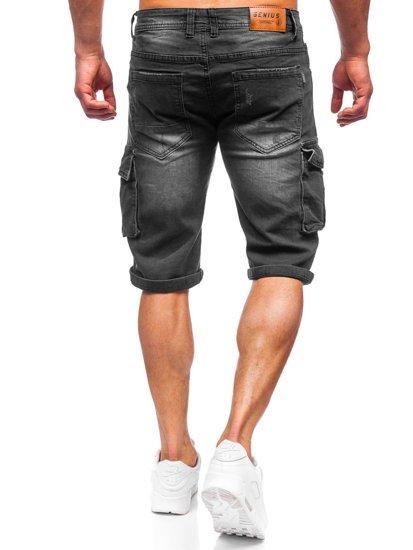 Чорні джинсові шорти чоловічі карго Bolf K15012-2