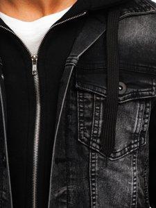 Графітова чоловіча джинсова куртка з капюшоном Bolf 10350