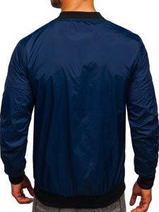 Темно-синя чоловіча демісезонна куртка бомбер Bolf M10292