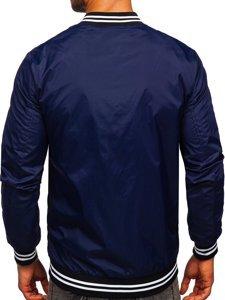 Темно-синя чоловіча демісезонна куртка бомбер Bolf M10298