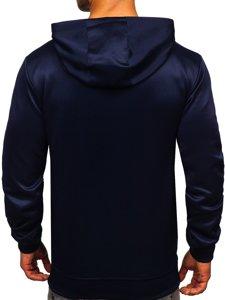 Темно-синя чоловіча толстовка з капюшоном і принтом Bolf B10115