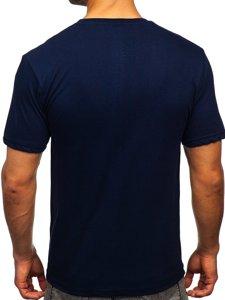 Темно-синя чоловіча футболка з принтом Bolf 14424