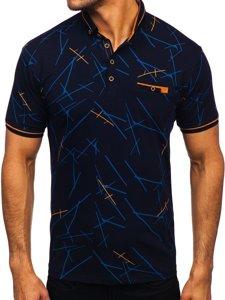 Темно-синя чоловіча футболка поло з принтом Bolf 192280