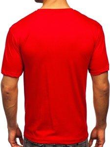 Червона чоловіча футболка з принтом Bolf 14424