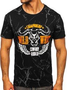 Чорна чоловіча футболка з принтом Bolf Y70026